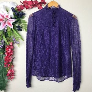 RED VALENTINO purple lace long sleeve top